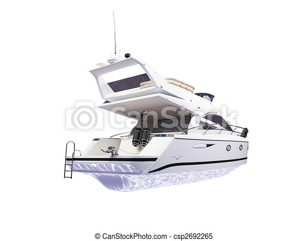 Yacht isolated back view - csp2692265