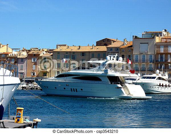Yacht Leaving Of Saint Tropez Port France Big White Yacht Leaving