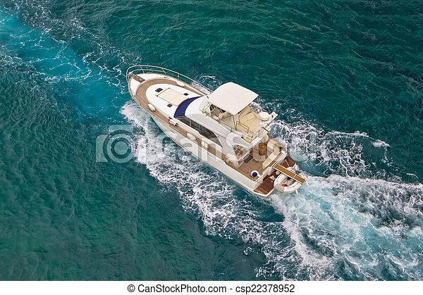 yacht, luftaufnahmen, meer, segeln, ansicht - csp22378952