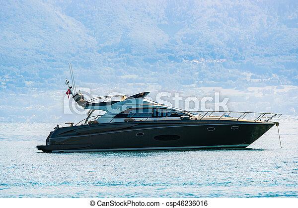 Yacht on Lake Geneva in Lausanne - csp46236016