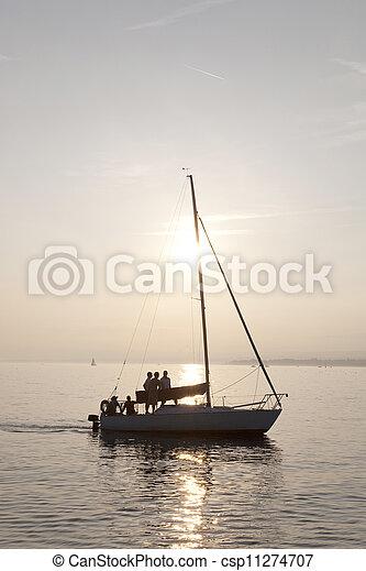 Yacht on Lake Geneva; Lausanne; Switzerland - csp11274707
