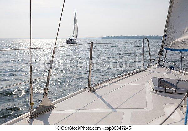 Yacht on lake - csp33347245