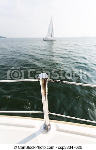 Yacht on lake - csp33347620