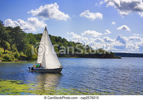 yacht on the lake - csp2576015
