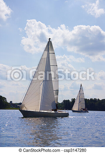 yacht on the lake - csp3147280