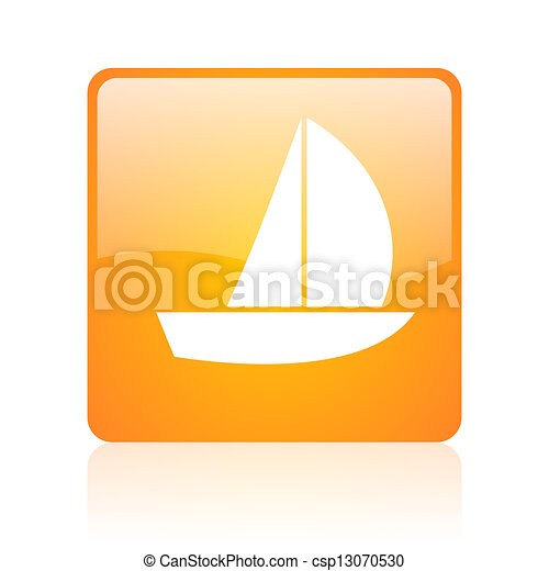 yacht orange square glossy web icon - csp13070530