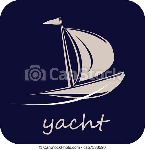 Yacht, Sailboat - Vector Icon - csp7538590