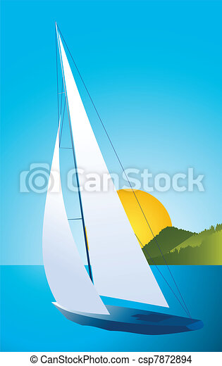 Yacht - sailing boat regatta vector - csp7872894