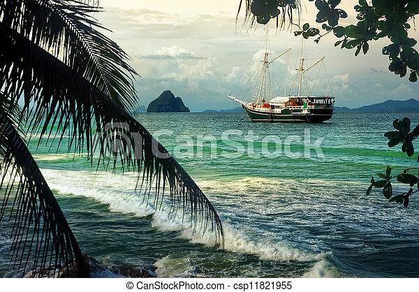 Yacht sailing in paradise bay - csp11821955