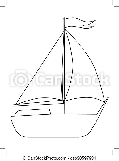 yacht, side view - csp30597931