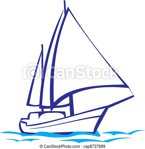 yacht silhouette sea voyage under canvas sail across the eps rh canstockphoto com clipart yacht free download yacht clipart png