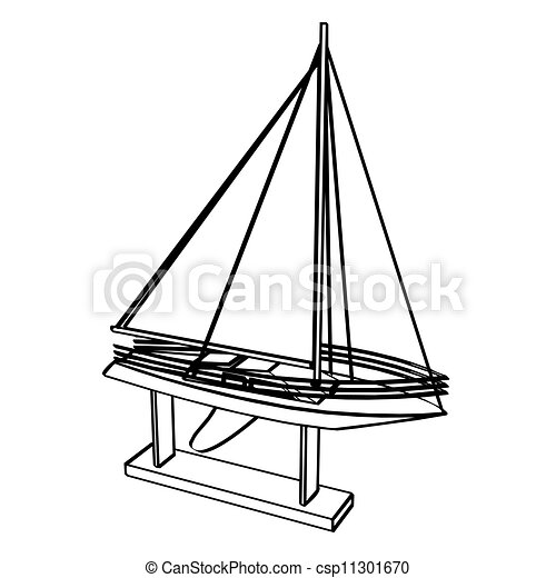 Yacht Vector Illustration Model Sailing Yacht At The Support