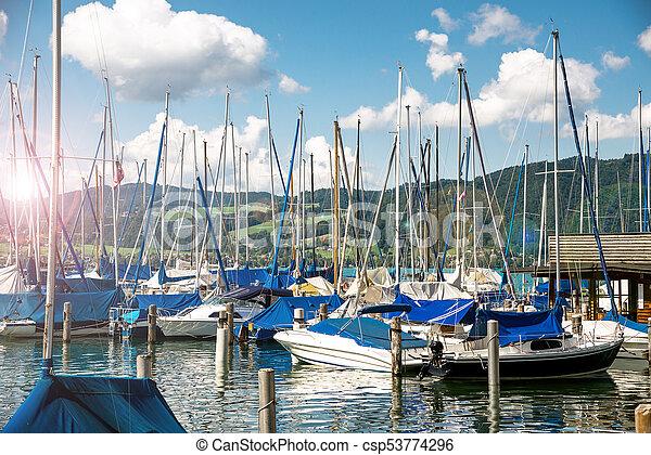 yachts at marina in the lake - csp53774296