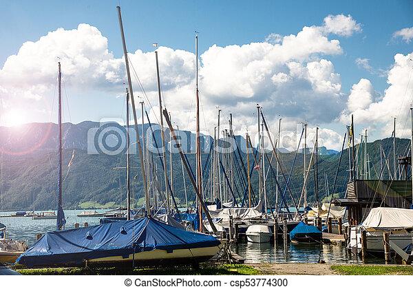 yachts at marina in the lake - csp53774300