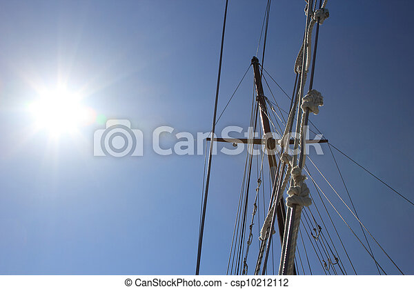 yacht's hinge with sail rolled-up - csp10212112