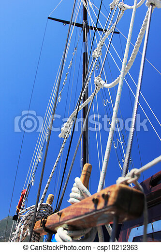 yacht's hinge with sail rolled-up - csp10212363