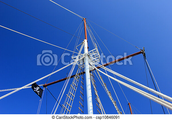 yacht's hinge with sail rolled-up - csp10846091