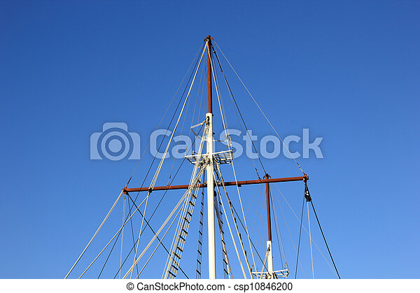 yacht's hinge with sail rolled-up - csp10846200