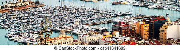 Yachts in Alicante harbor, Costa Blanca, Spain - csp41841603