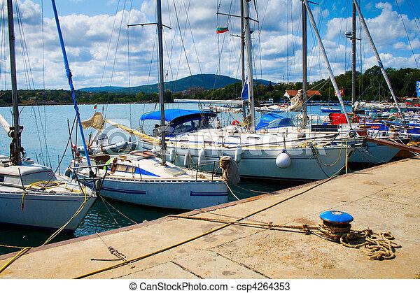 Yachts in Tsarevo port, Bulgaria - csp4264353
