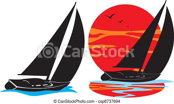 yachts silhouette - under sail - csp8737694