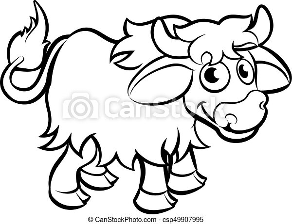 Yak Cartoon Character A Yak Animal Cartoon Character Outline