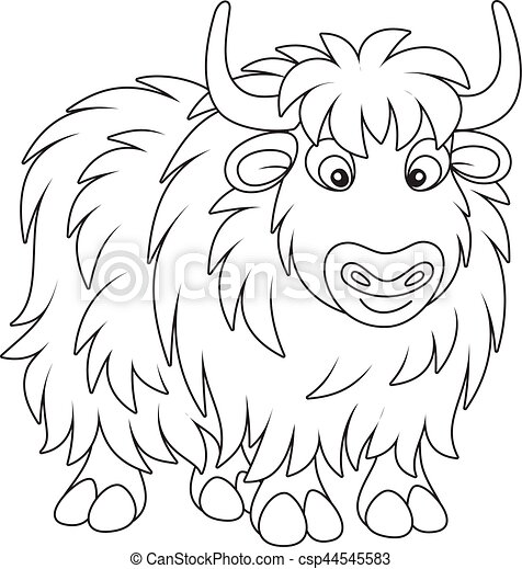 Yak Black And White Vector Illustration Of A Big Yak In Cartoon Style