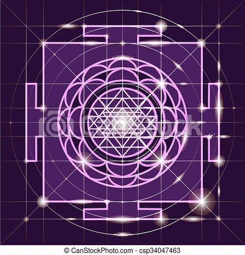 yantra., sacré, géométrie, sree - csp34047463