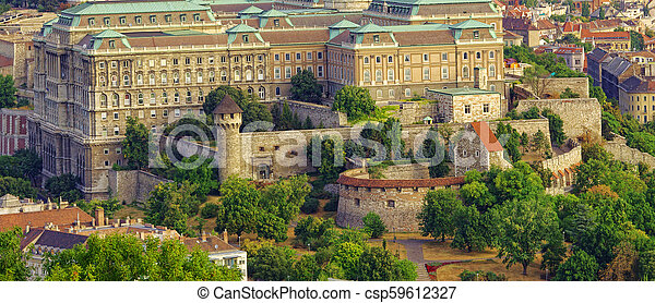 yard of The Royal Castle or palace in Budapest city, Hungary. - csp59612327
