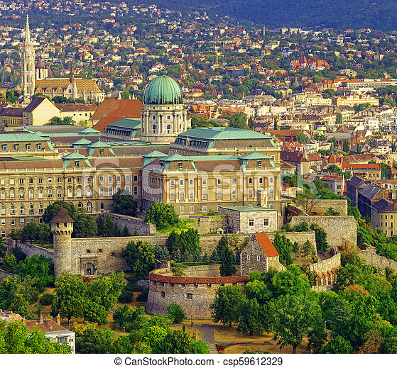 yard of The Royal Castle or palace in Budapest city, Hungary. - csp59612329