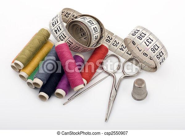 Yarn, Needles, Scissor and Thimble - csp2550907