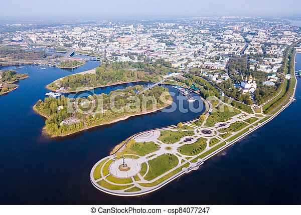 Yaroslavl with Strelka park and Assumption cathedral - csp84077247