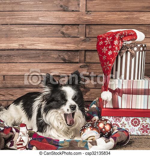 Yawning dog Christmas postcard - csp32135834