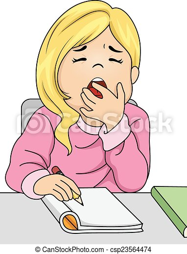 yawning girl illustration featuring a girl letting out a big yawn rh canstockphoto com yawning clipart Funny Yawn