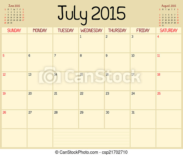 Year 2015 July Planner A Monthly Planner Calendar For July 2015 A