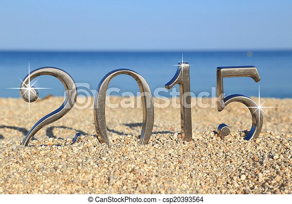 Year 2015 number on the beach - csp20393564