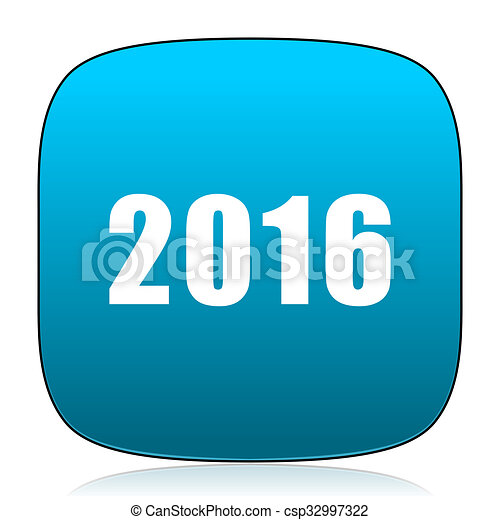 year 2016 blue icon - csp32997322