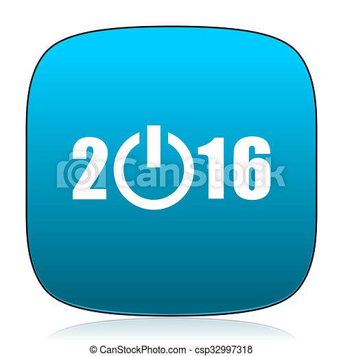 year 2016 blue icon - csp32997318