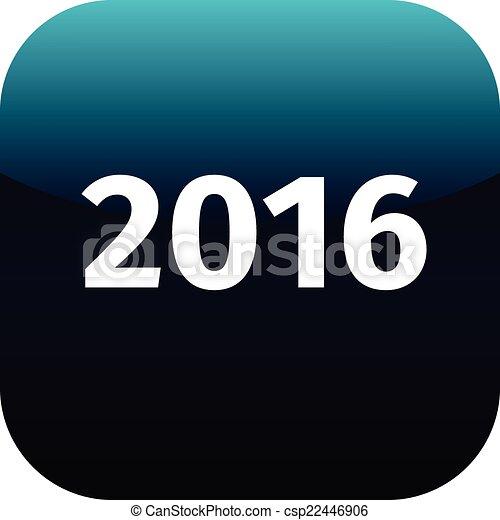 year 2016 blue icon - csp22446906