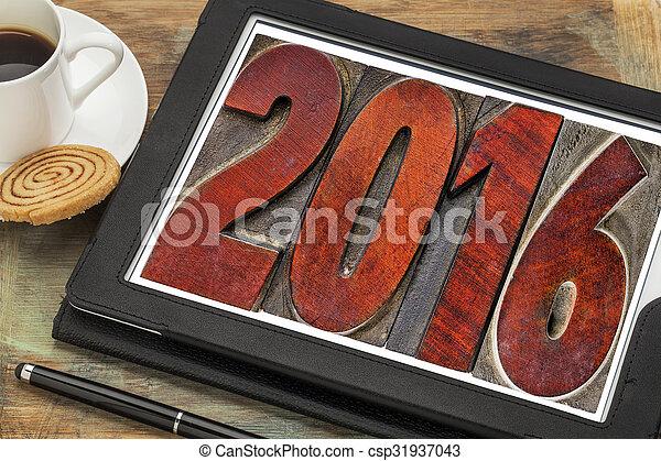 year 2016 in vintage wood type - csp31937043
