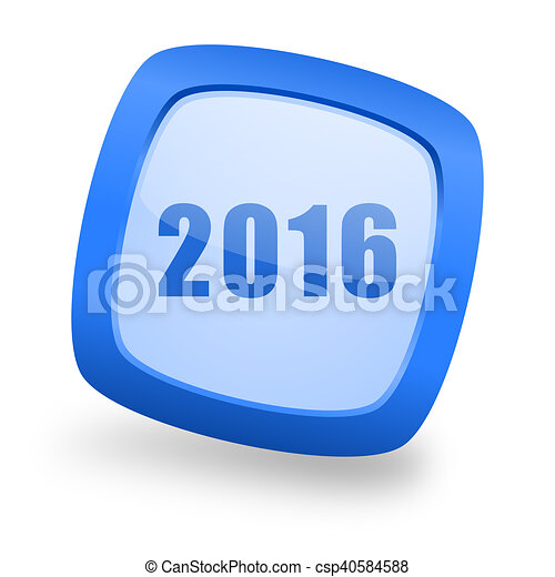 year 2016 square glossy blue web design icon - csp40584588