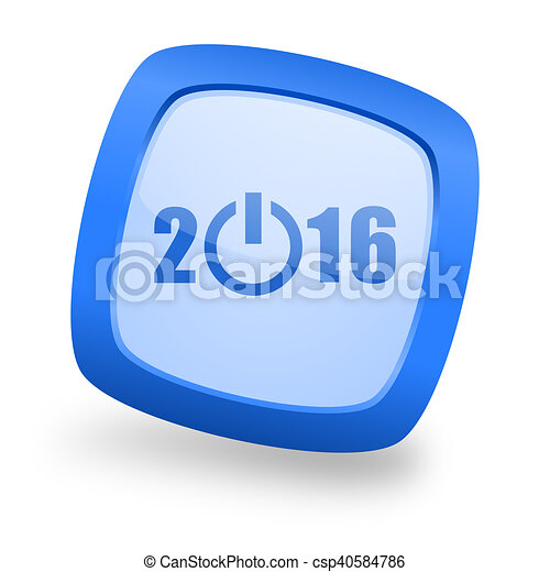 year 2016 square glossy blue web design icon - csp40584786