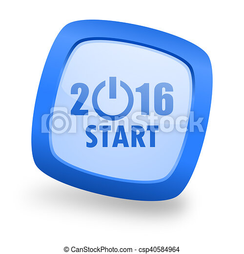 year 2016 square glossy blue web design icon - csp40584964