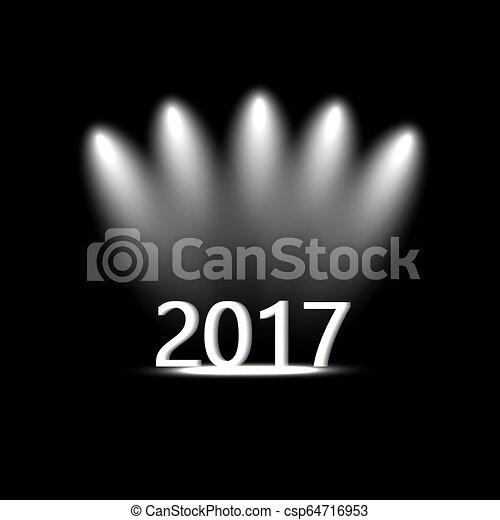 Year 2017 icon. Internet button on black background. - csp64716953