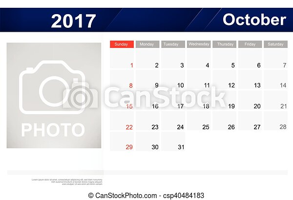 Year 2017 october month simple and clear design calendar template ...