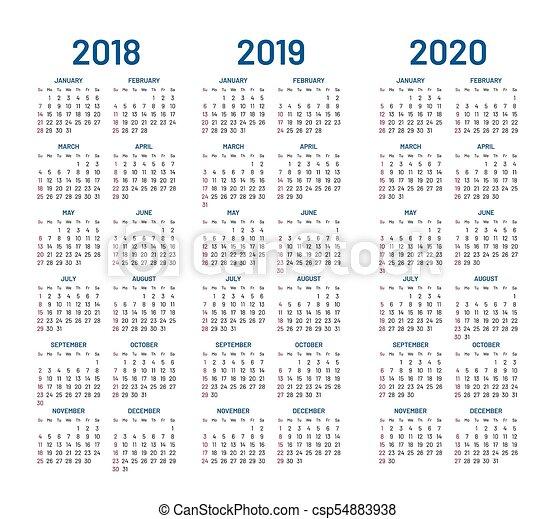 Calendario 2020 Con Foto Gratis.Year 2018 2019 2020 Calendar