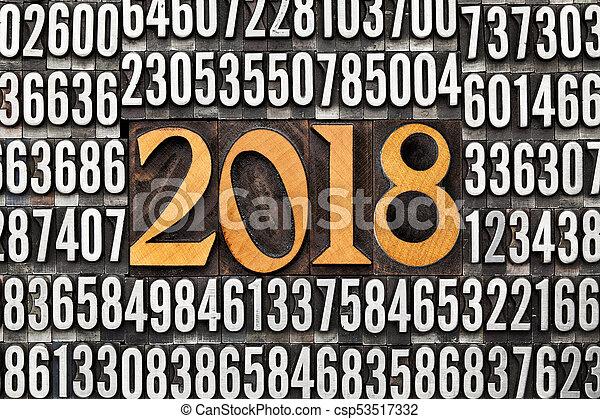 year 2018 in letterpress type - csp53517332