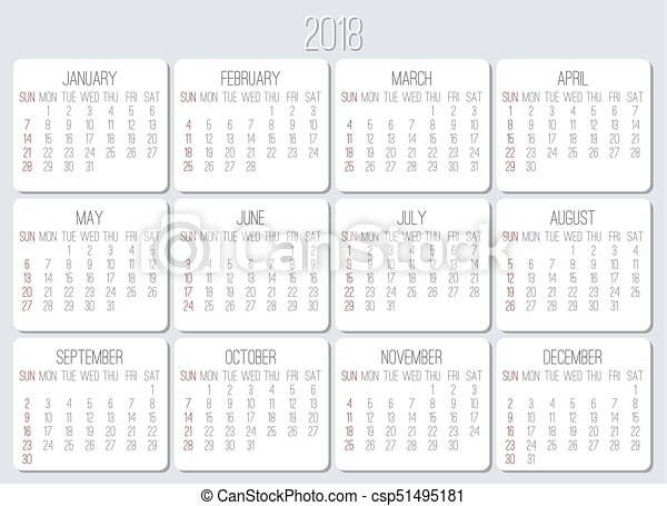 year 2018 monthly calendar csp51495181