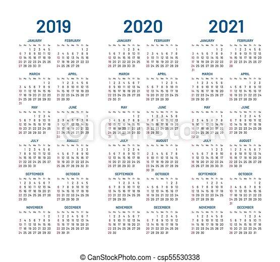 Calendario 2020 Free.Year 2019 2020 2021 Calendar