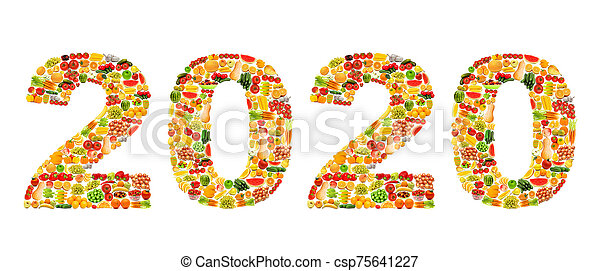 Year 2020 made from fruit photos - csp75641227